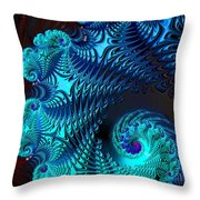 Fractal Art - Blue Wave Throw Pillow