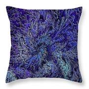 Fractal Blues Throw Pillow