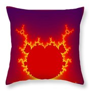 Fractal Burning Heart Throw Pillow
