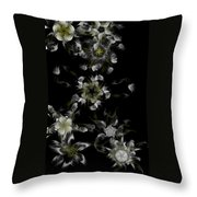 Fractal Floral Pattern Black Throw Pillow