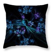 Fractal Forget Me Not Bouquet  Throw Pillow