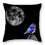 Fractal Moon And Bluebird Throw Pillow