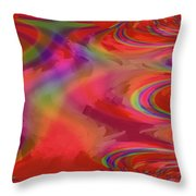 Fractal Red Throw Pillow