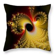 Fractal Spiral Art Yellow Red Metal Effect Throw Pillow