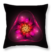 Fractal Triangle Pink Red Yellow Throw Pillow
