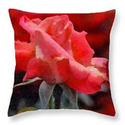 Fragmented Pink Rose Throw Pillow