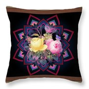Framed Rose Bouquet Montage Throw Pillow