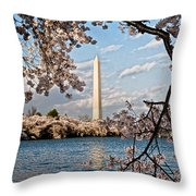 Framed With Blossoms Throw Pillow