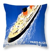 France Cruise Vintage Travel Poster Restored Throw Pillow
