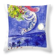 France Nice Soleil Fleurs Vintage 1961 Travel Poster By Marc Chagall Throw Pillow
