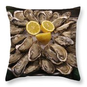 France, Paris Oysters On Display Throw Pillow