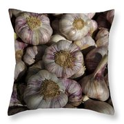 France, Paris Sunday Market Garlic Throw Pillow