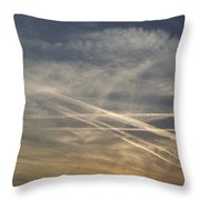 France, Paris, Tail Of Smoke In Sky Throw Pillow