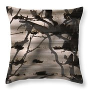 France, Paris, Tree Branches Reflected Throw Pillow