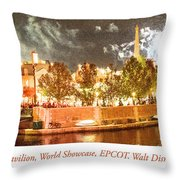 France Pavilion At Night With Fireworks, Epcot, Walt Disney Worl Throw Pillow