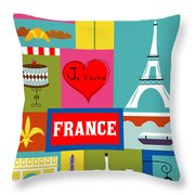 France Vertical Scene - Collage Throw Pillow