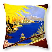 France Vintage Travel Poster Restored Throw Pillow