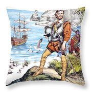 Francis Drake And The Golden Hind Throw Pillow by Ron Embleton