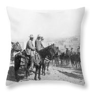 Francisco Pancho Villa (1878-1923). Mexican Revolutionary Leader. Photographed While Reviewing Troops, C1914 Throw Pillow