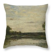 Francois Daubigny   View On The Oise Throw Pillow