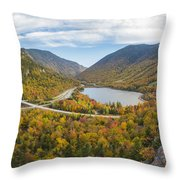 Franconia Notch Autumn View Throw Pillow