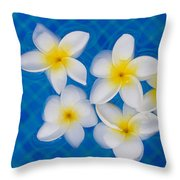 Frangipani Flowers In Water Throw Pillow