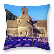 All Purple, Cistercian Abbey Of Notre Dame Of Senanque, France  Throw Pillow