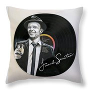 Frank Sinatra Portrait On Lp Throw Pillow
