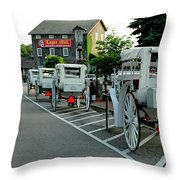 Frankenmuth Michigan Carriages At The Mill Throw Pillow