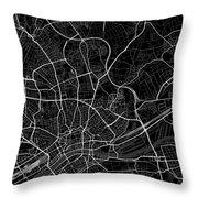 Frankfurt Germany Dark Map Throw Pillow