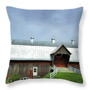 Franklin Barn By The Lake Throw Pillow