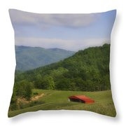 Franklin County Virginia Red Barn Throw Pillow by Teresa Mucha
