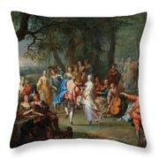 Franz Christoph Janneck Graz 1703-1761 Vienna A Dance In The Palace Gardens, Throw Pillow