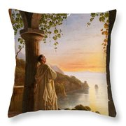 Franz Ludwig Catel  A Monk Meditating In A Cloister Throw Pillow