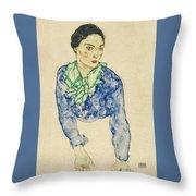 Frauenbildnis Mit Blauem Und Grunem Throw Pillow