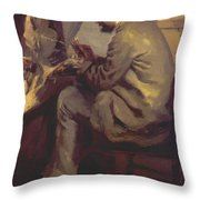 Frederic Bazille Painting The Heron 1867 Throw Pillow