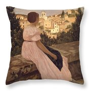 Frederic Bazille   The Pink Dress Throw Pillow