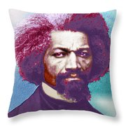 Frederick Douglass Painting In Color Pop Art Throw Pillow