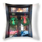 Fredricksburg Door Decorated For Christmas Throw Pillow