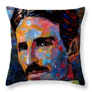 Free Energy Nikola Tesla Throw Pillow