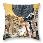 Free Silver Cartoon, 1890 Throw Pillow