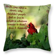Free To Delight Throw Pillow by April Wietrecki Green