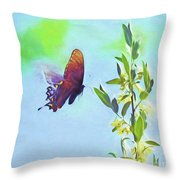 Free To Fly - Butterfly In Flight Throw Pillow