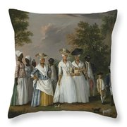 Free Women Of Color With Their Children And Servants In A Landscape Throw Pillow