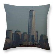Freedom And Ellis Island Throw Pillow