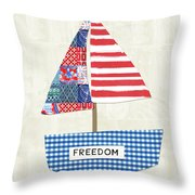 Freedom Boat- Art By Linda Woods Throw Pillow