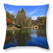 Freedom Park Bridge And Lake In Charlotte Throw Pillow