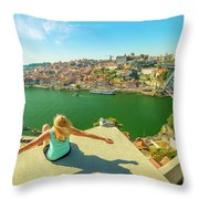 Freedom Woman At Douro River Throw Pillow