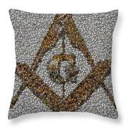 Freemason Coin Mosaic Throw Pillow