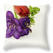 Freesia And Tulip Throw Pillow